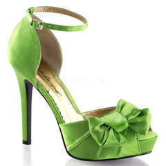 FABULICIOUS LUMINA-36 Apple Green Satin Peep Toe Pumps - Shoecup.com
