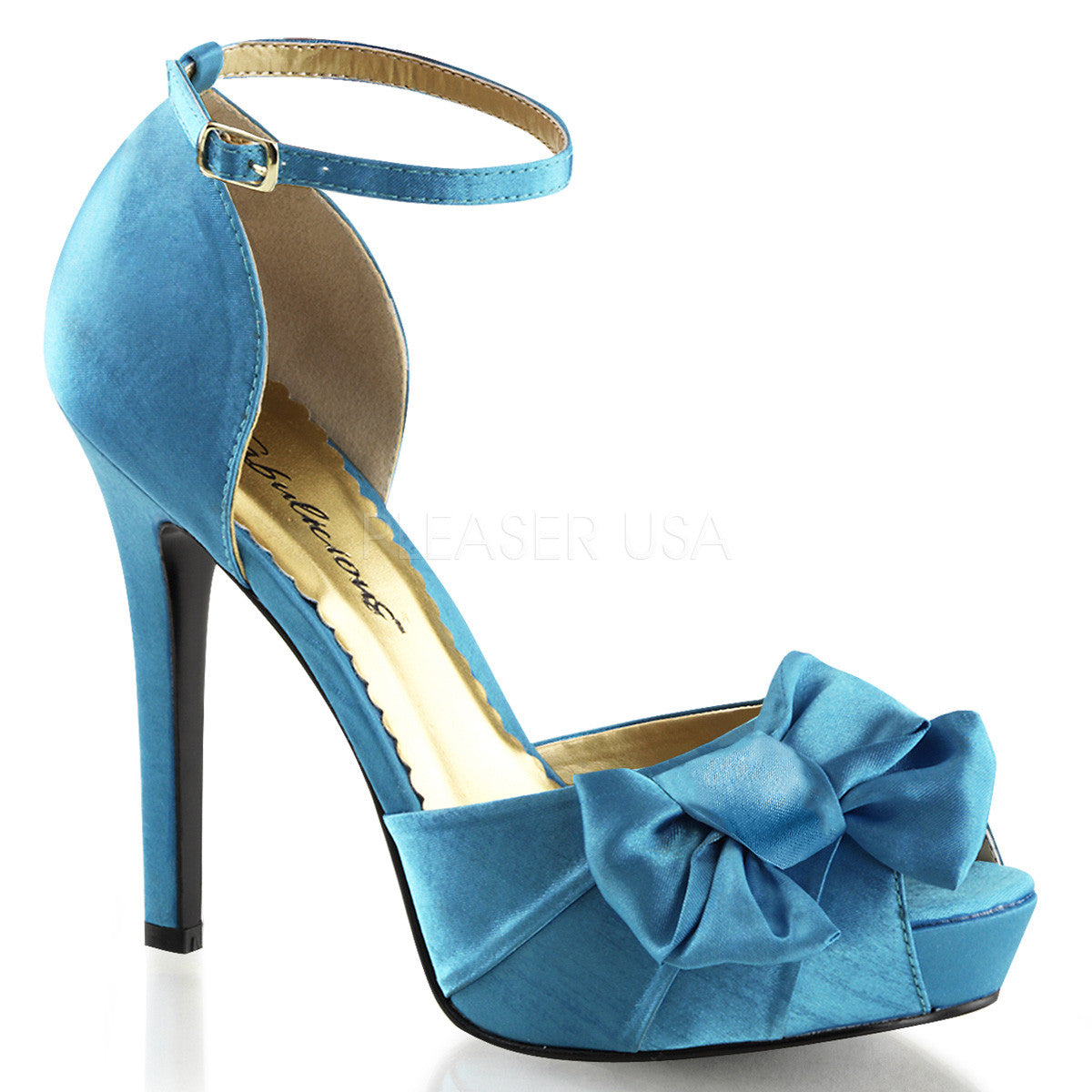FABULICIOUS LUMINA-36 Blue Satin Peep Toe Pumps - Shoecup.com