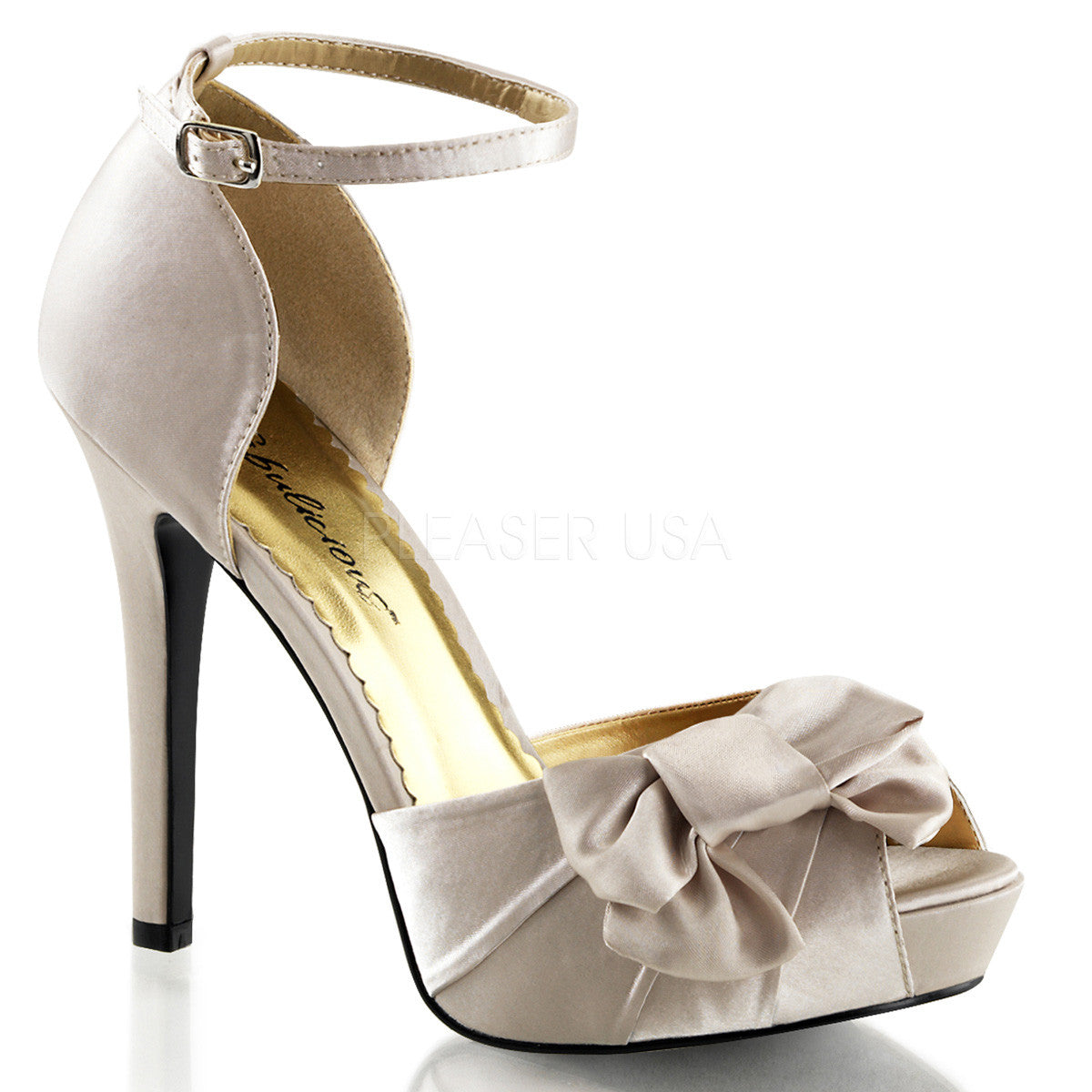 FABULICIOUS LUMINA-36 Champagne Satin Peep Toe Pumps - Shoecup.com
