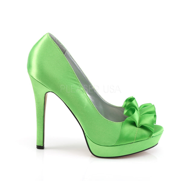 FABULICIOUS LUMINA-42 Apple Green Satin Peep Toe Pumps