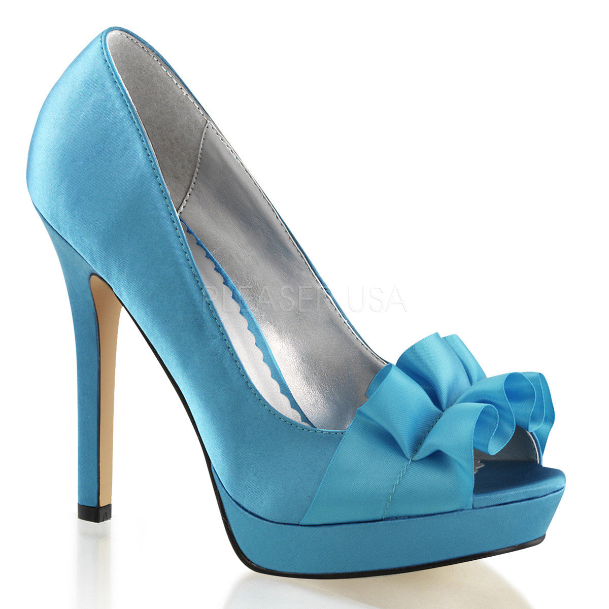 FABULICIOUS LUMINA-42 Blue Satin Peep Toe Pumps - Shoecup.com