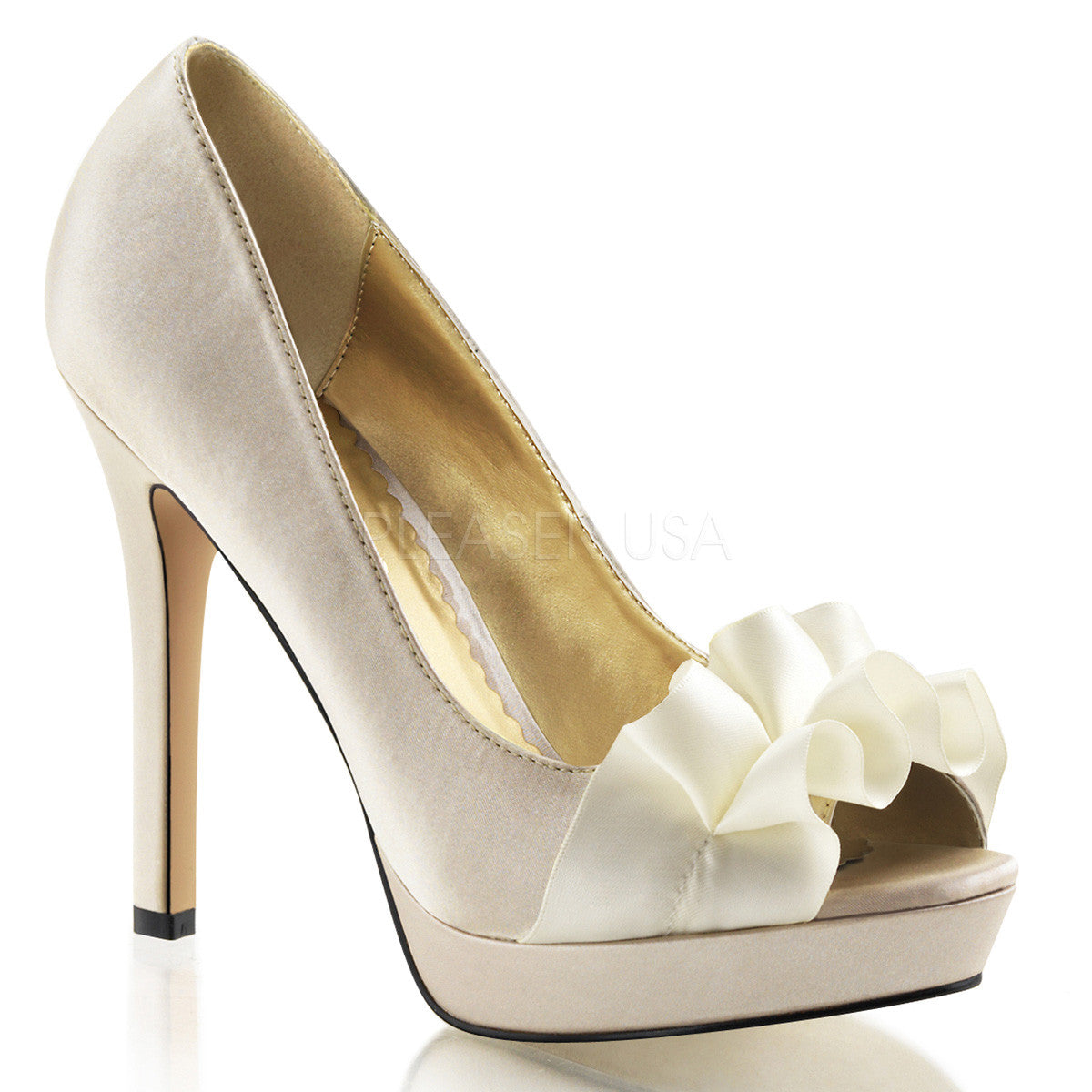 FABULICIOUS LUMINA-42 Champagne Satin Peep Toe Pumps - Shoecup.com