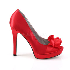 FABULICIOUS LUMINA-42 Red Satin Peep Toe Pumps