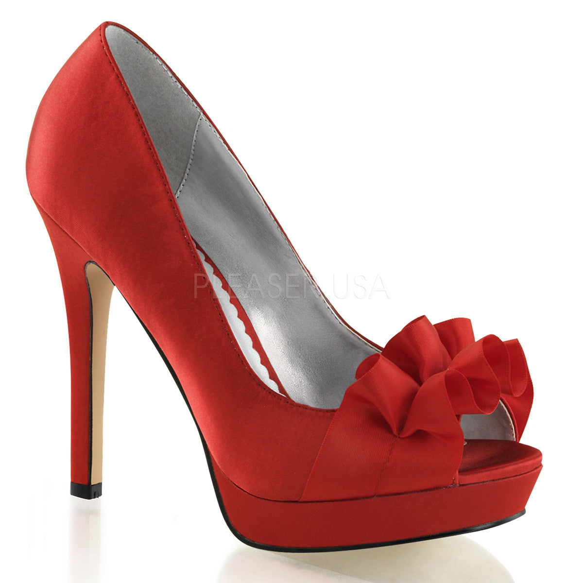 FABULICIOUS LUMINA-42 Red Satin Peep Toe Pumps - Shoecup.com