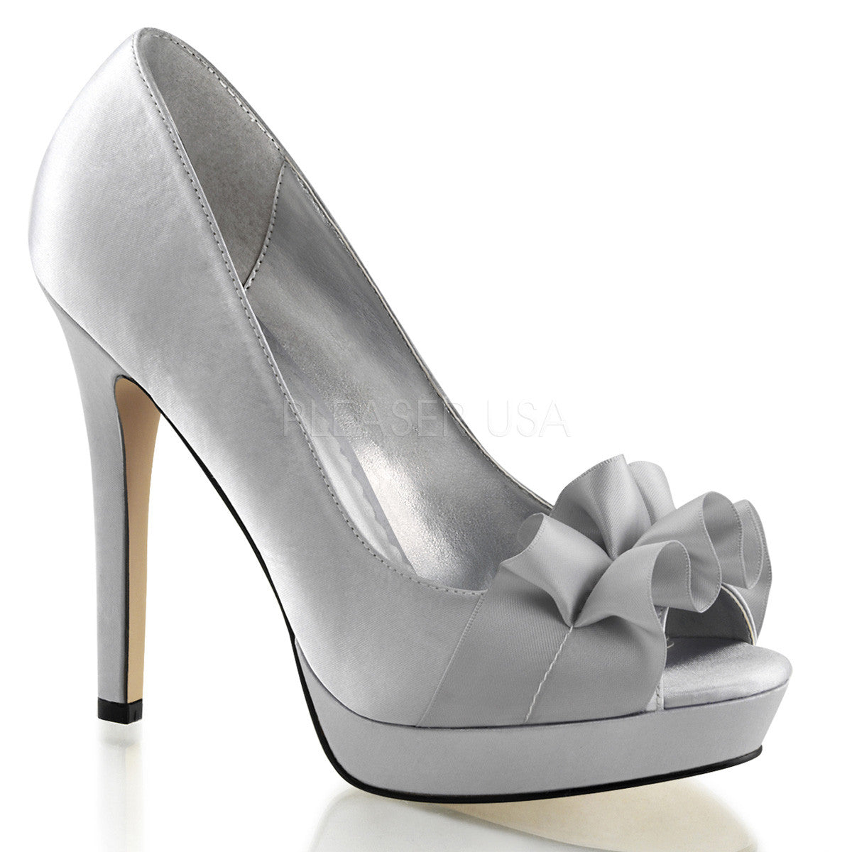 FABULICIOUS LUMINA-42 Silver Satin Peep Toe Pumps - Shoecup.com