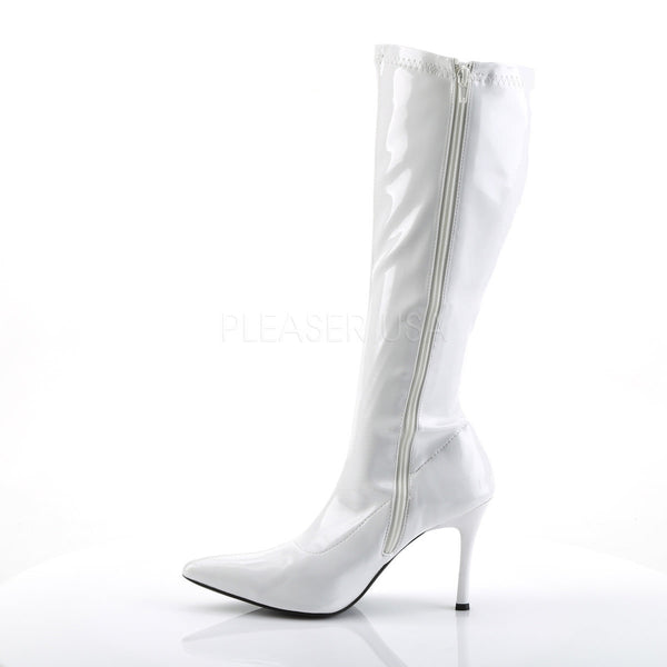 FUNTASMA LUST-2000 White Stretch Pat Knee High Boots