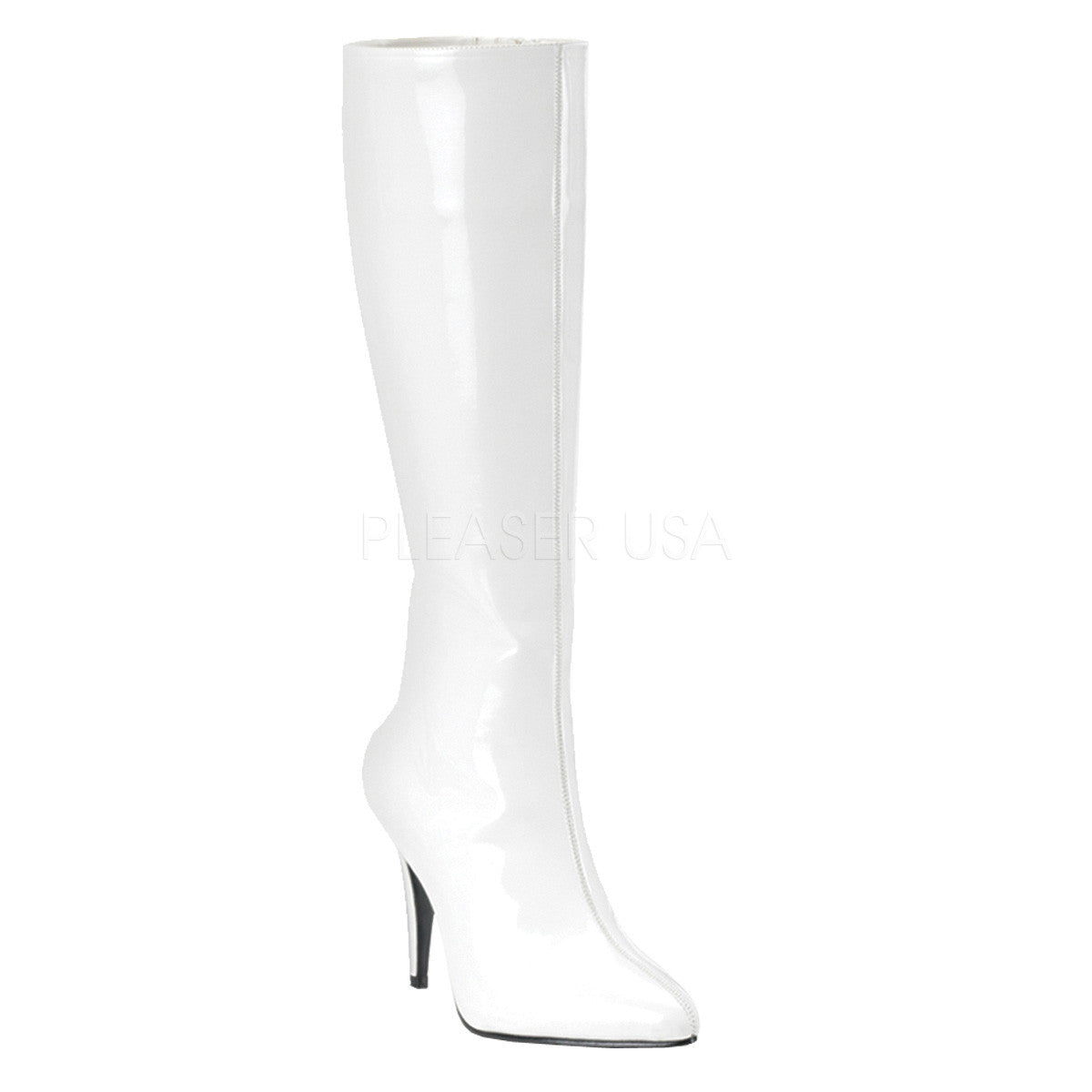 FUNTASMA LUST-2000 White Stretch Pat Knee High Boots - Shoecup.com