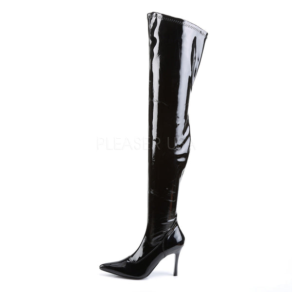 FUNTASMA LUST-3000 Black Stretch Pat Thigh High Boots