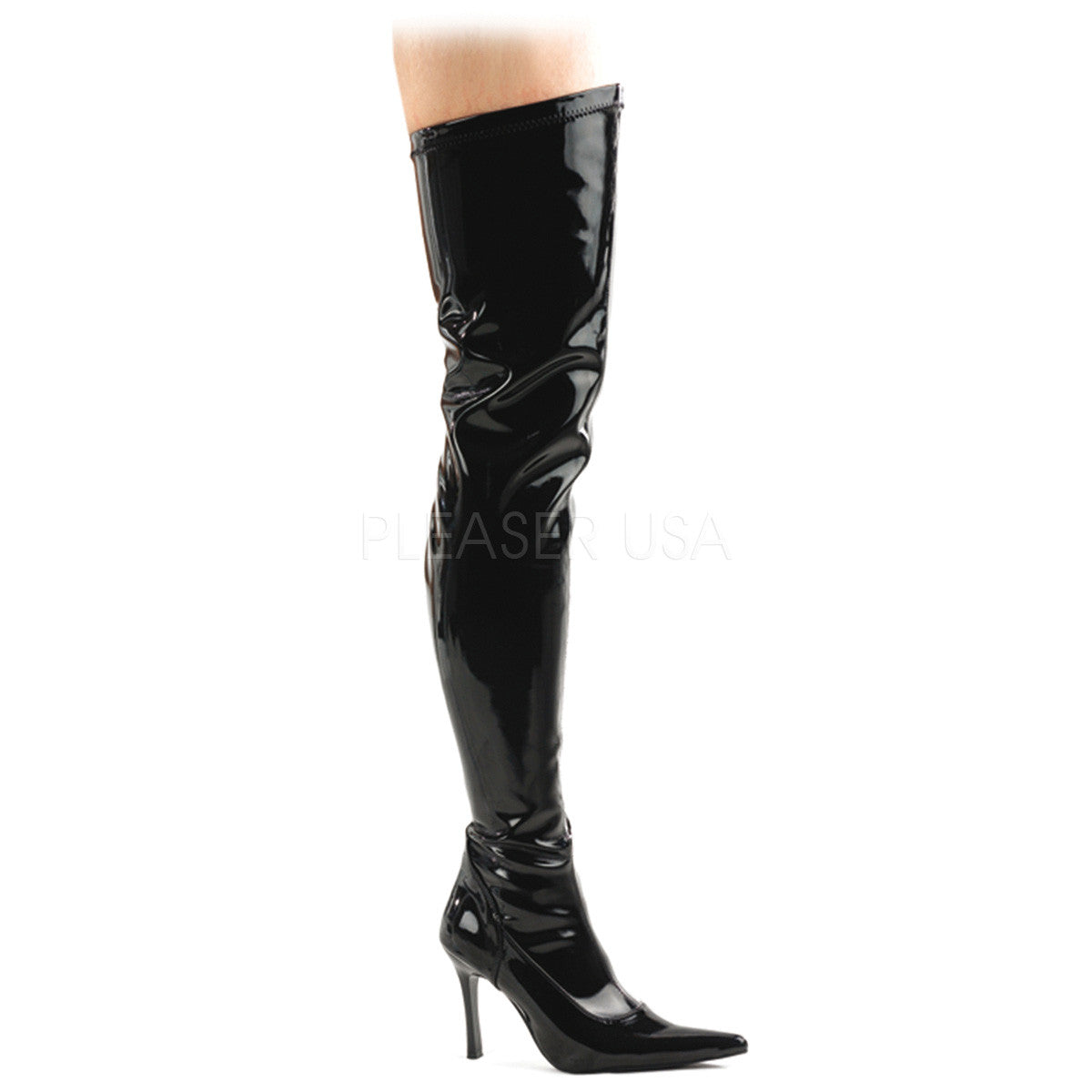 FUNTASMA LUST-3000 Black Stretch Pat Thigh High Boots - Shoecup.com
