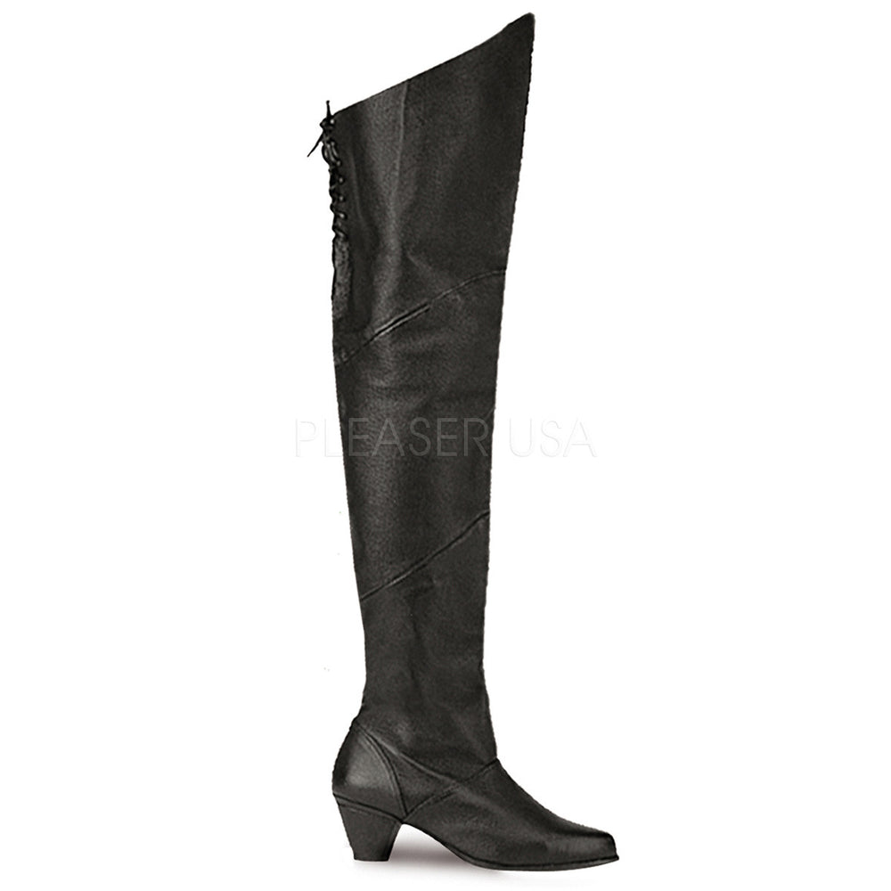FUNTASMA MAIDEN-8828 Black Leather Thigh High Boots