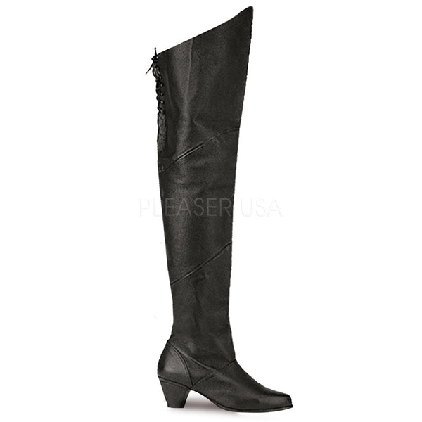FUNTASMA MAIDEN-8828 Black Leather Thigh High Boots - Shoecup.com