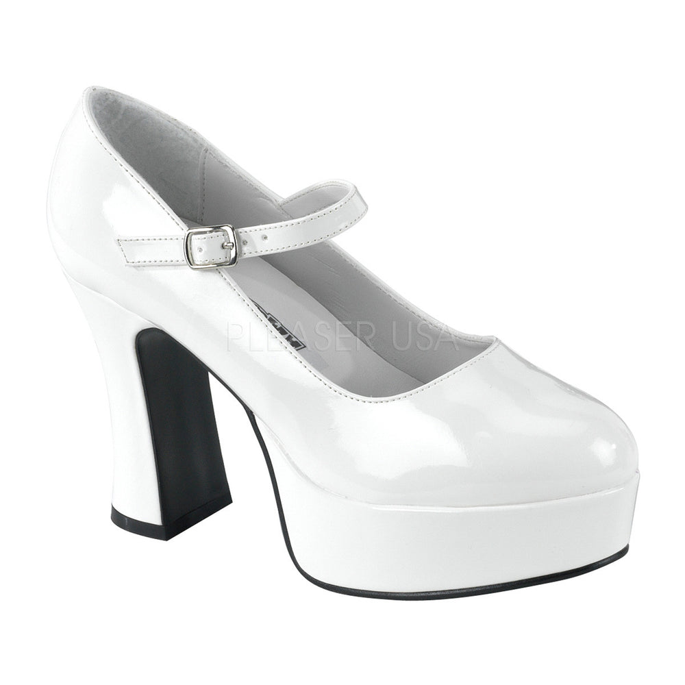 FUNTASMA MARYJANE-50 White Pat MaryJane Pumps