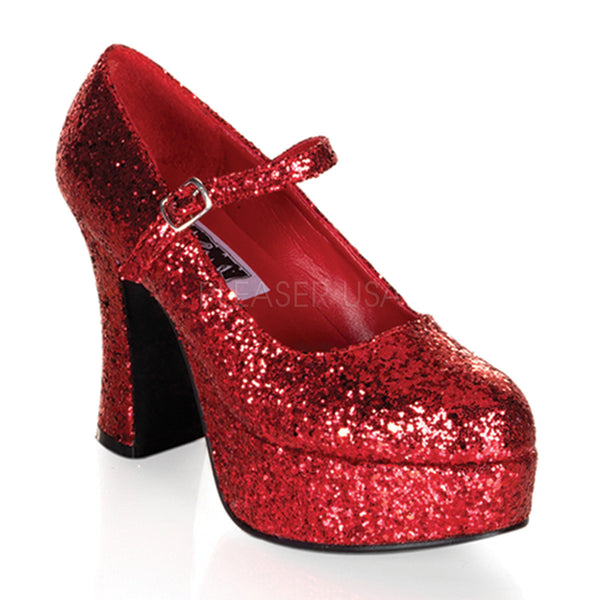 FUNTASMA MARYJANE-50G Red Glitter MaryJane Pumps - Shoecup.com