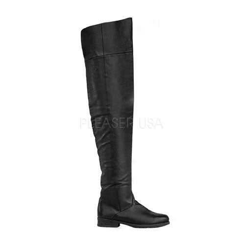 FUNTASMA MAVERICK-8824 Men's Black Leather Thigh High Boots
