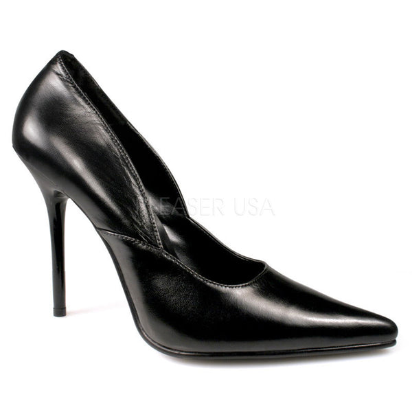 PLEASER MILAN-01 Black Leather Classic Pumps - Shoecup.com