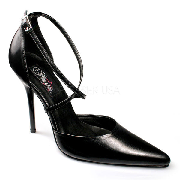 PLEASER MILAN-42 Black Leather D'orsay Sandals - Shoecup.com