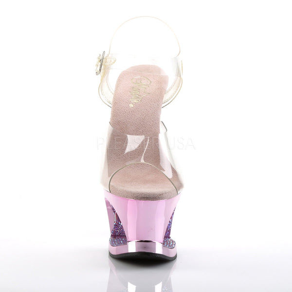 PLEASER MOON-708DMCH Clear-Baby Pink Chrome Ankle Strap Sandals