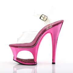 PLEASER MOON-708DMCH Clear-Fuchsia Chrome Ankle Strap Sandals