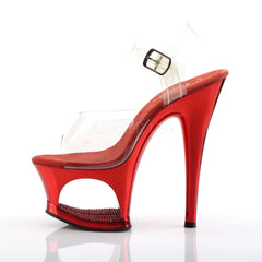 PLEASER MOON-708DMCH Clear-Red Chrome Ankle Strap Sandals