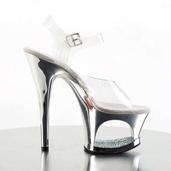PLEASER MOON-708DMCH Clear-Silver Chrome Ankle Strap Sandals