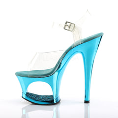PLEASER MOON-708DMCH Clear-Turquoise Chrome Ankle Strap Sandals