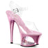 PLEASER MOON-708DMCH Clear-Baby Pink Chrome Ankle Strap Sandals - Shoecup.com