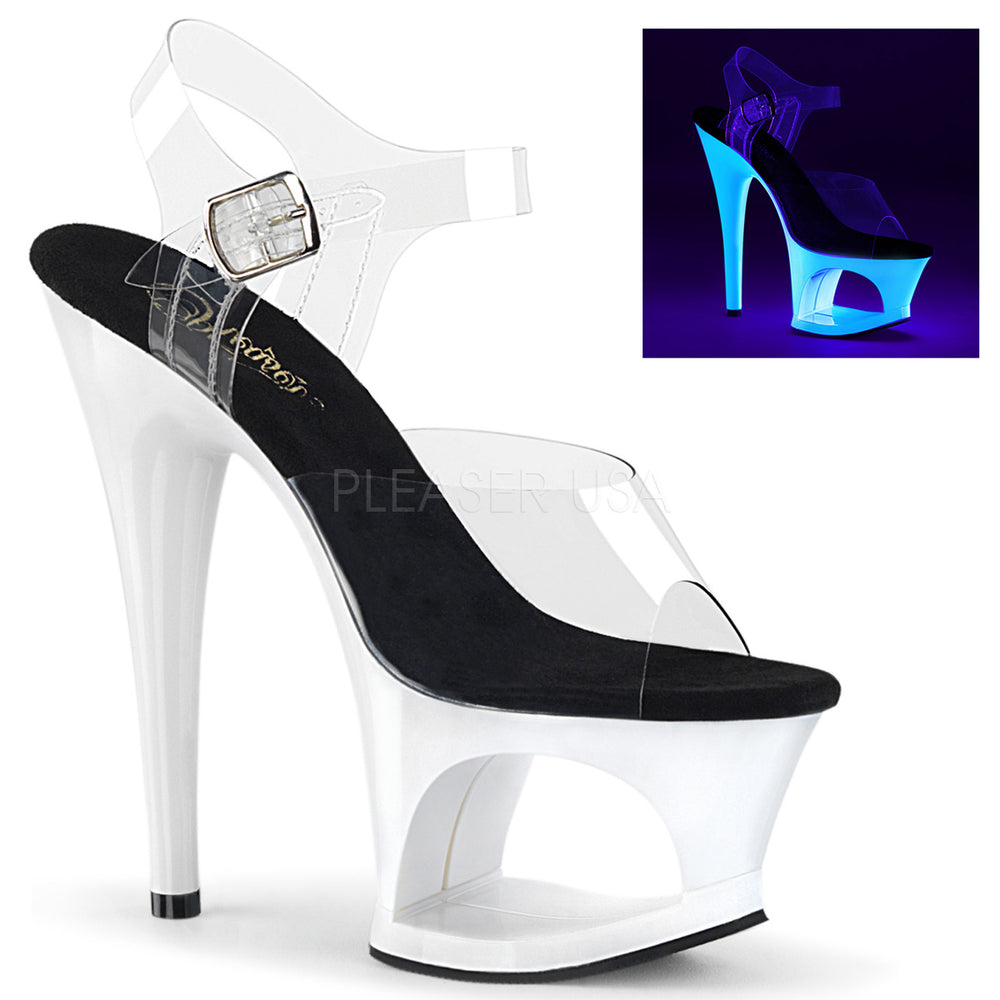 "7"" Heel MOON-708UV Clear Neon White"