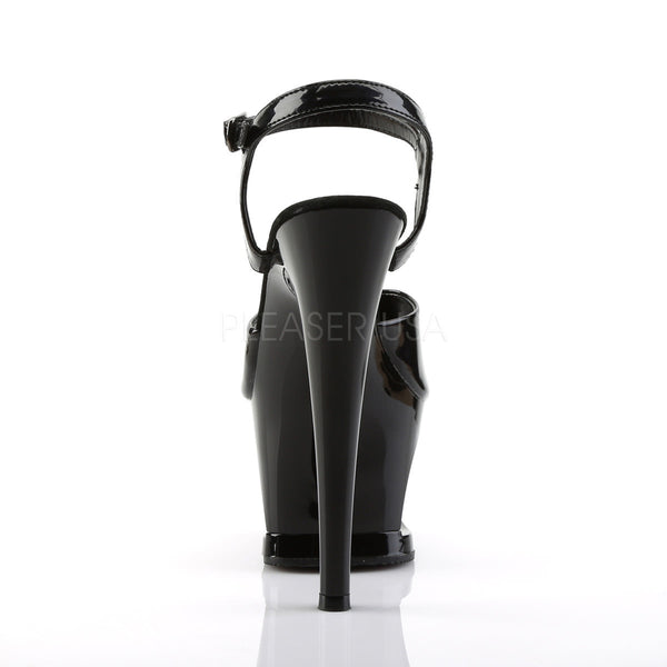 PLEASER MOON-709SK Black-Pewter Ankle Strap Sandals