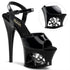 PLEASER MOON-709SK Black-Pewter Ankle Strap Sandals - Shoecup.com