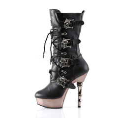 DEMONIA MUERTO-1026 Black Pu/Pewter Chrome Boots - Shoecup.com - 2