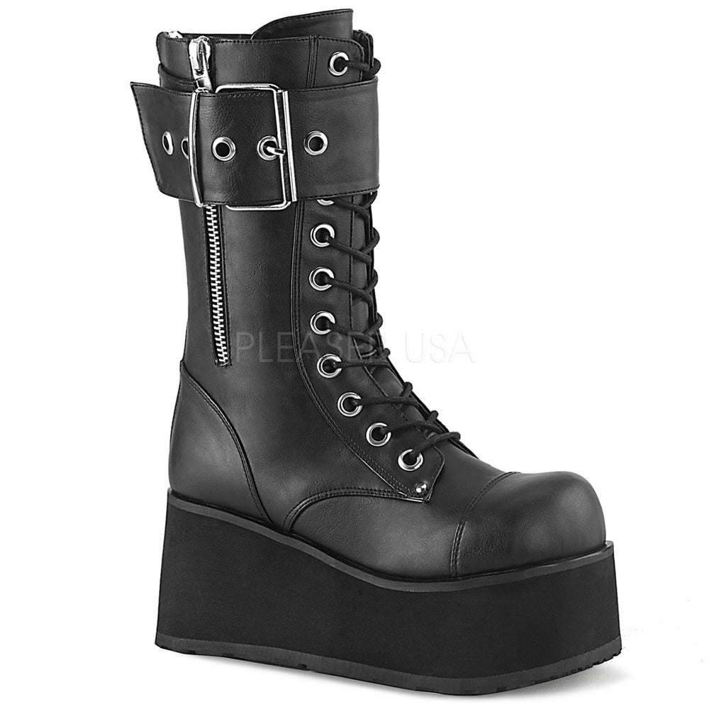 "3"" Platform PETROL-150 Black Vegan Leather"
