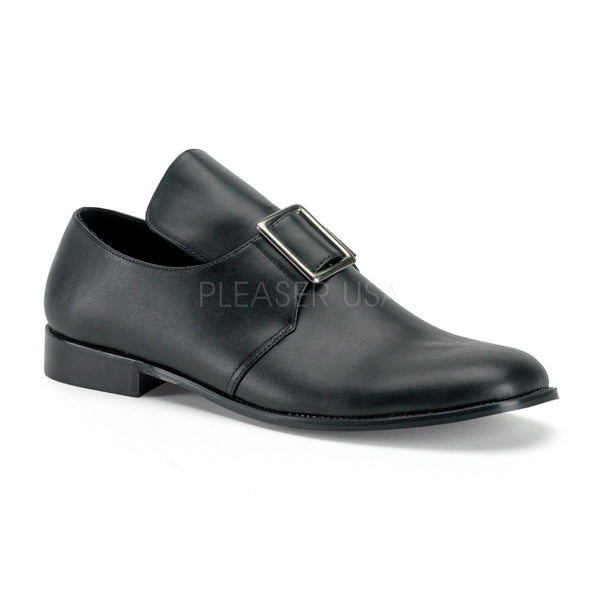 Men's Black Pu Colonial Style Pilgrim Costume Shoes - Shoecup.com