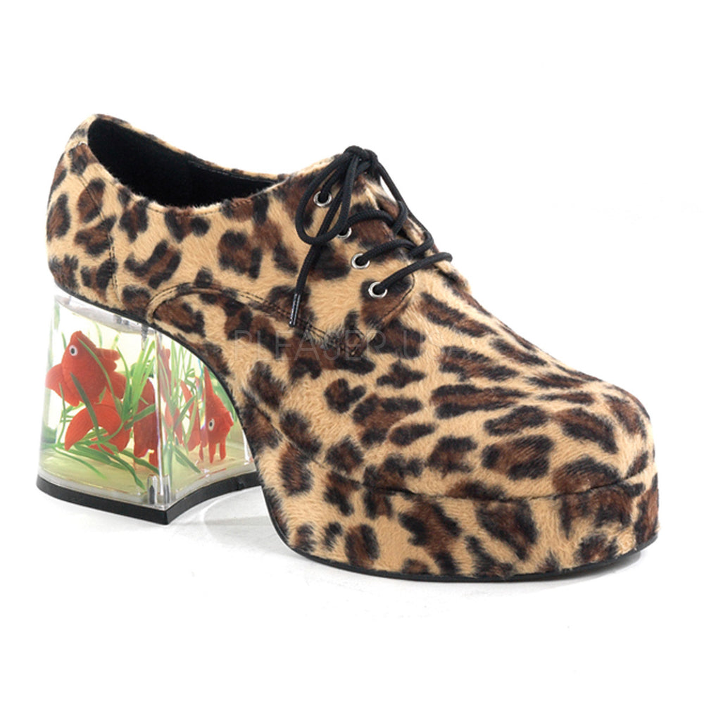 Men's Cheetah Fur  Fish Tank Platform Shoes With Fish