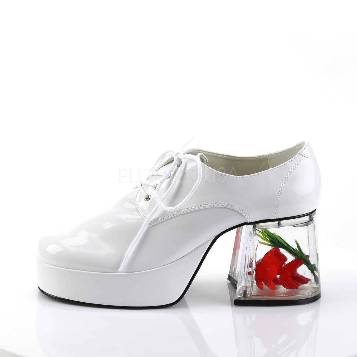 Men S White 70s 80s Disco Platform Shoes With Fish