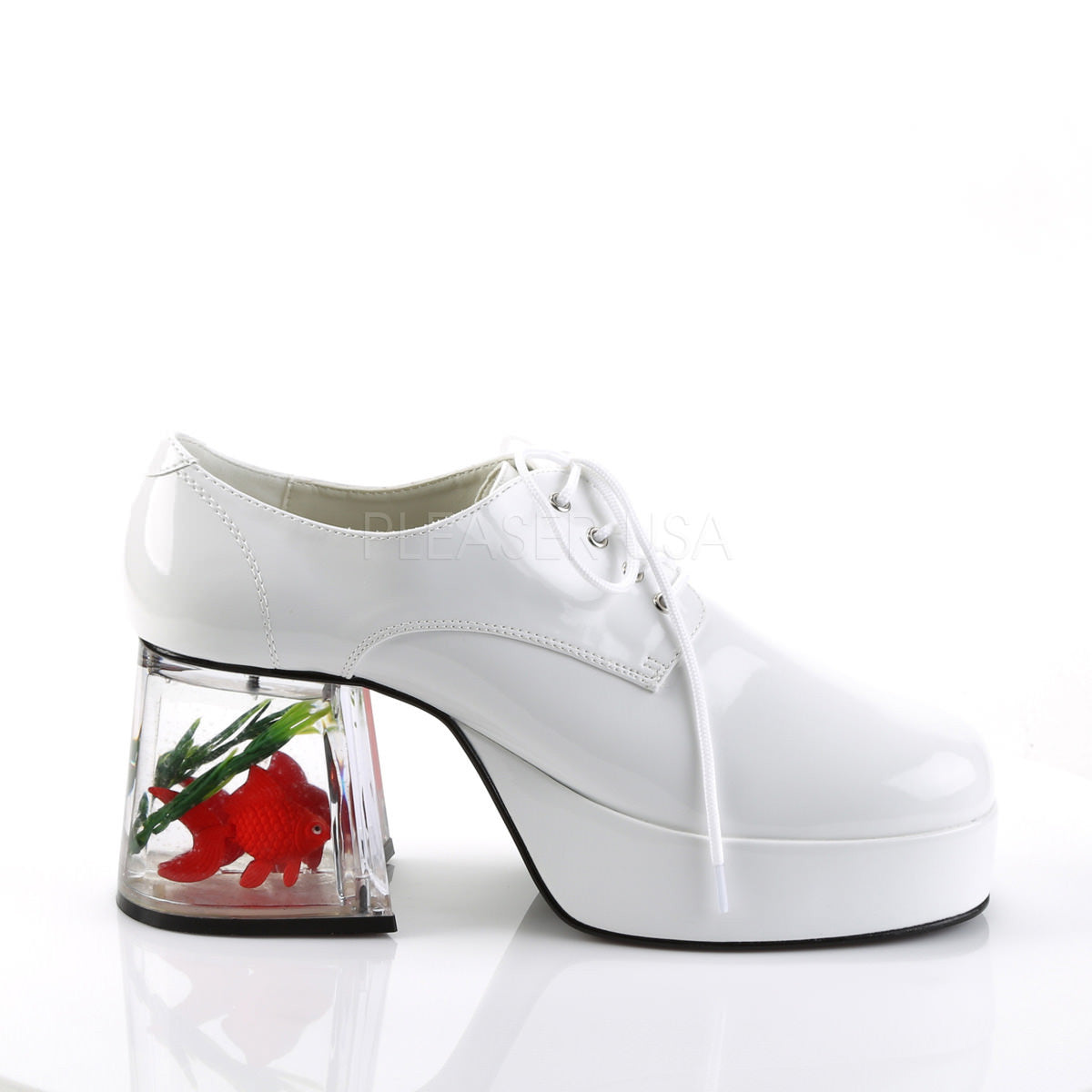 Men 39 s white 70s 80s disco platform shoes with fish for White fishing boots