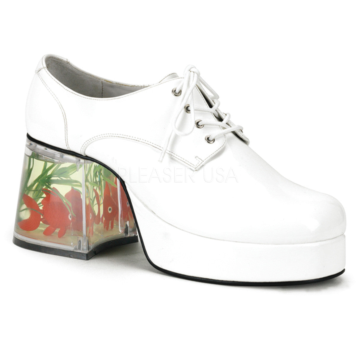 ad3fef83ade6 Men s White 70s 80s Disco Platform Shoes With Fish