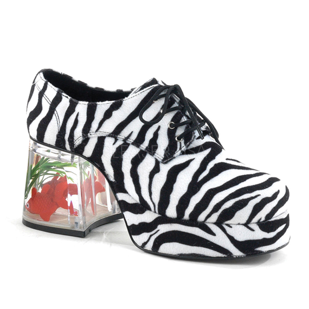 Men's Zebra Fur Fish Tank Platform Shoes With Fish
