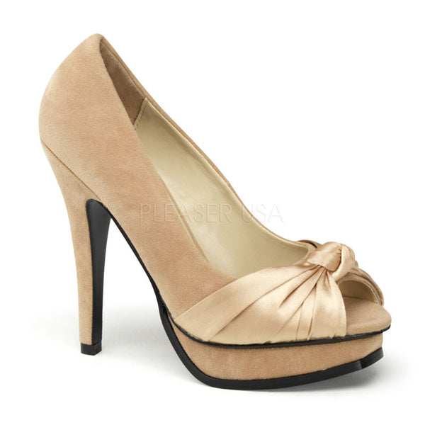 PINUP COUTURE PLEASURE-05 Champagne Sueded Pu-Satin Open Toe Pumps - Shoecup.com