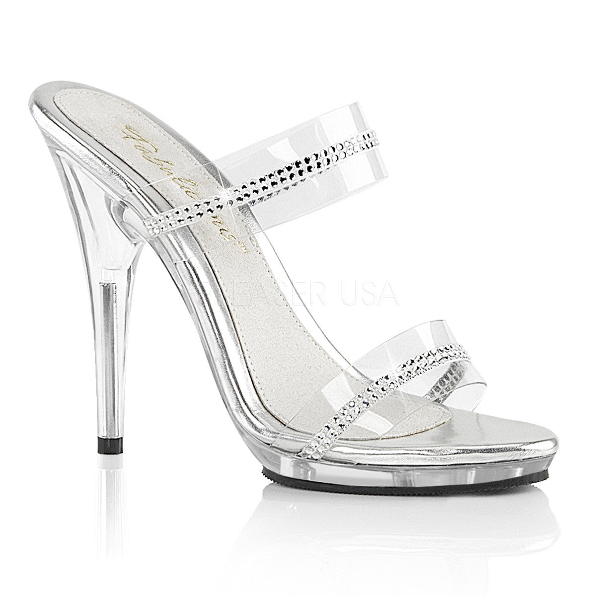 "5"" Heel Clear Rhinestone Two Band Slide 