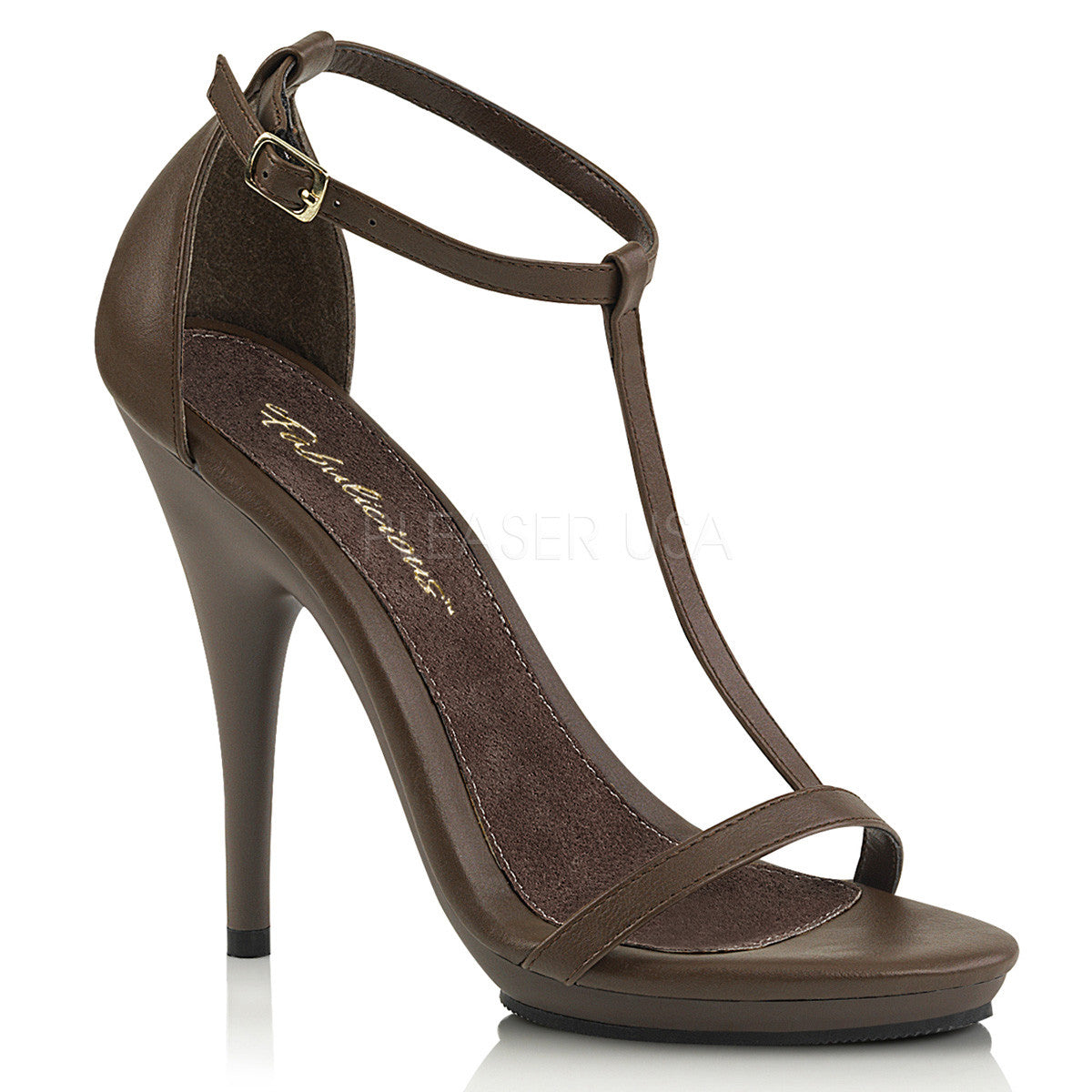 "5"" Heel Brown Closed Back T-Strap Sandal 