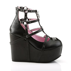 Demonia POISON-25-1 Black Platform Wedges