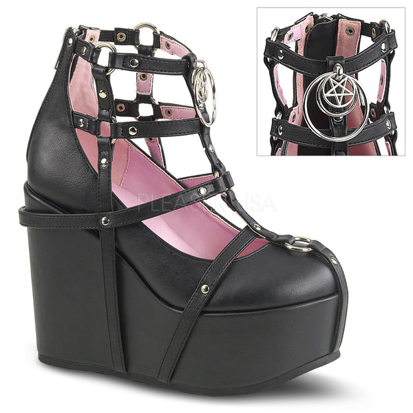 Demonia POISON-25-1 Black Platform Wedges - Shoecup.com