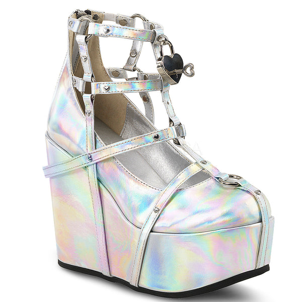 Demonia POISON-25-2 Silver Hologram Platform Wedges - Shoecup.com