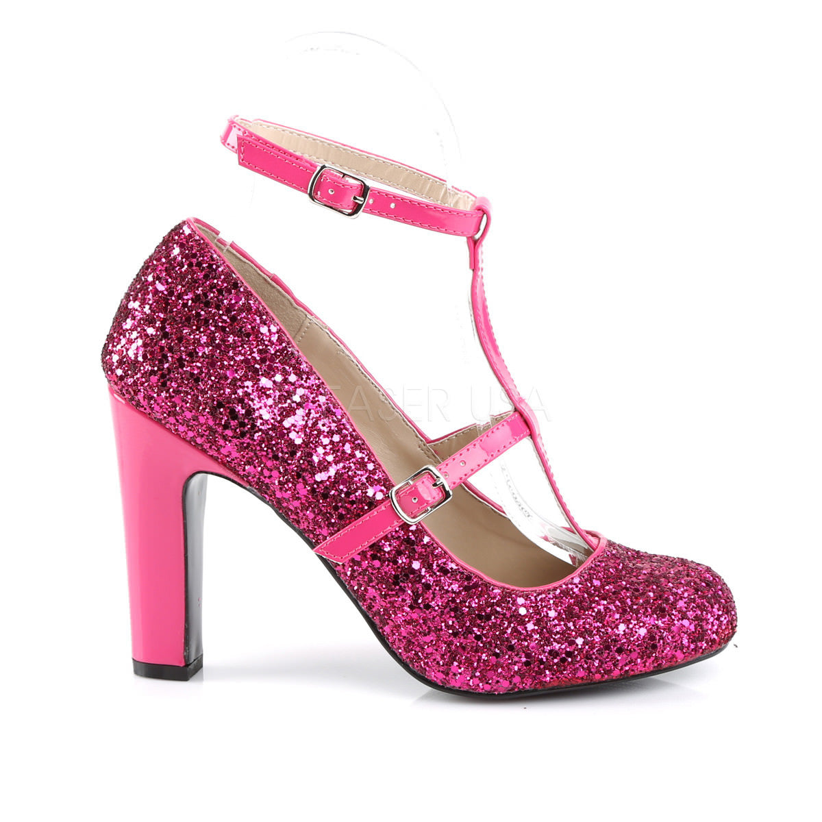 d6db8100fa12 Pleaser Pink Label QUEEN-01 Hot Pink Pat-Glitter Round Toe Pumps