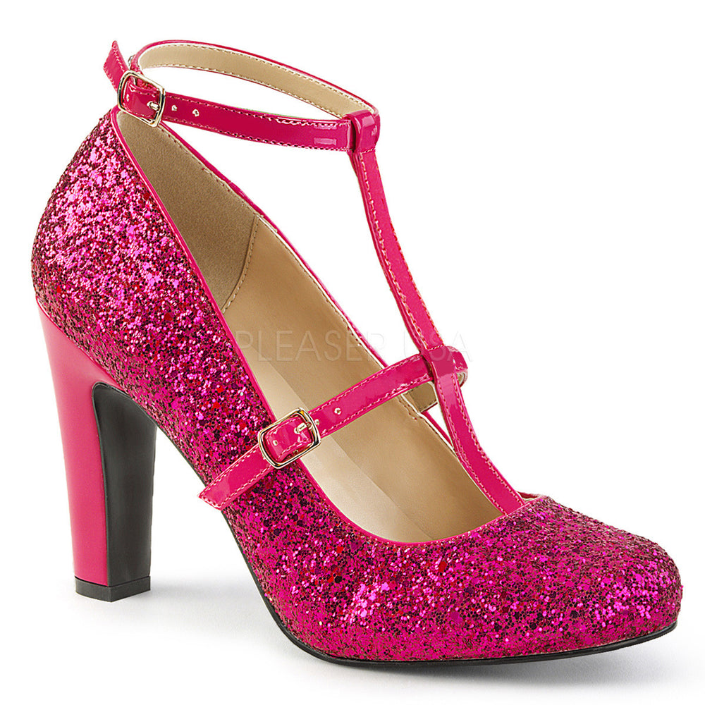 Pleaser Pink Label QUEEN-01 Hot Pink Pat-Glitter Round Toe Pumps