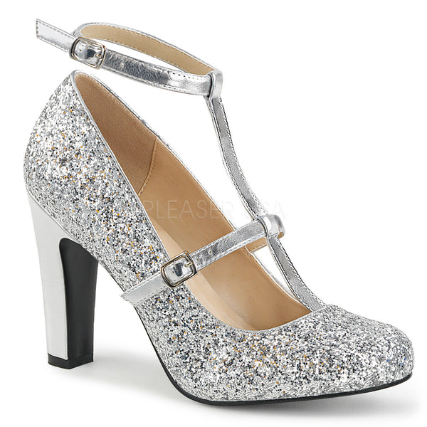 Pleaser Pink Label QUEEN-01 Silver Met Faux Leather-Glitter Round Toe Pumps - Shoecup.com