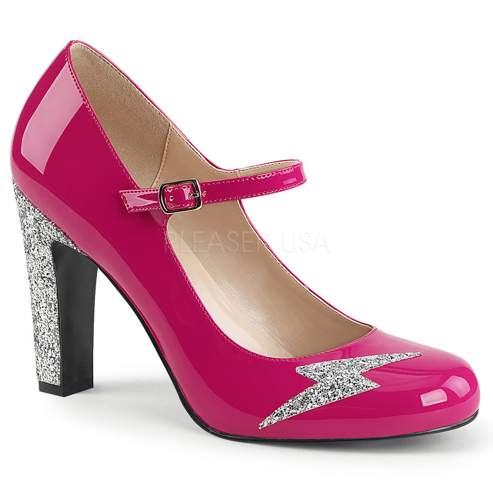 Pleaser Pink Label QUEEN-02 Hot Pink Pat-Silver Glitter Maryjane Pumps