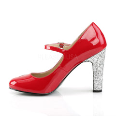 Pleaser Pink Label QUEEN-02 Red Pat-Silver Glitter Maryjane Pumps