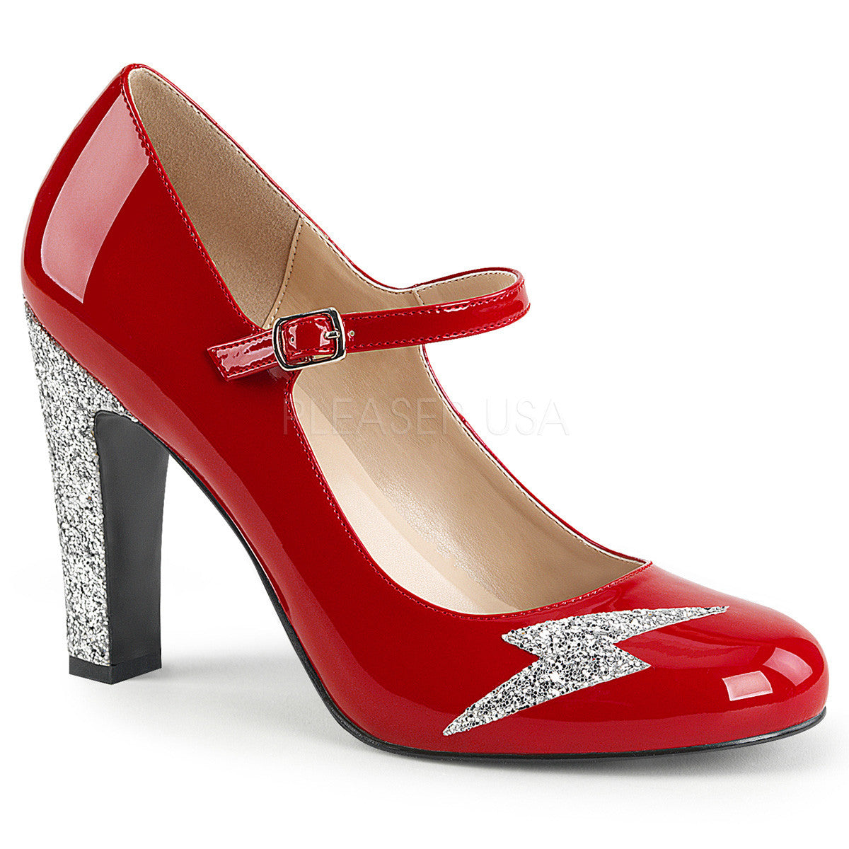 Pleaser Pink Label QUEEN-02 Red Pat-Silver Glitter Maryjane Pumps - Shoecup.com