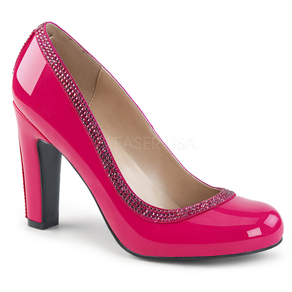 Pleaser Pink Label QUEEN-04 Hot Pink Pat-Hot Pink Satin Pumps - Shoecup.com